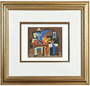 Fine Pablo Picasso And039musiciansand039 Pochoir Hand Painted Coa Not Hand Signed 1930