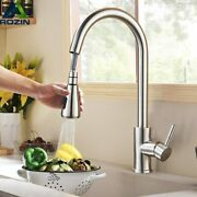 Rozin Brushed Nickel Kitchen Faucet Single Hole Pull Out Spout Kitchen Sink Mixe
