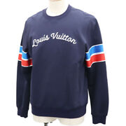Louis Vuitton Long Sleeve Sweatshirt Tops Cotton Navy Italy Auth Ae75 Y