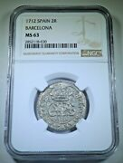 Ngc Ms63 1712 Spanish Silver 2 Reales Antique 1700's Bu Colonial Two Bits Coin