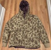 Stussy Deluxe Puffer Duck Camo Jacket Xl Rare Reversible Tan Brown Purple