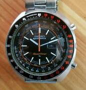 Seiko 5 Sports 7017-6050 Speedtimer Vintage Ss Automatic Mens Watch Auth Works