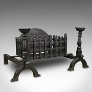 Heavy Vintage Fireplace Set, English, Iron, Fire Basket, Grate, Medieval Revival