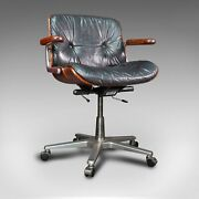 Vintage Giroflex Desk Chair Swiss Rosewood Leather Office Seat Martin Stoll