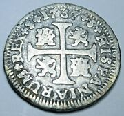 1737 Spanish Silver 1/2 Reales Antique 1700s Colonial Cross Pirate Treasure Coin