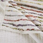 Beautiful Cozy Cottage Ruffle Chic Country Pink Green Shabby Floral Quilt Set