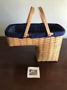 Longaberger Step It Up Stair Basket W/ Navy Liner And Plastic Protector Guc