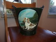 Adorable Antique Metal Bucket With Cavalier King Charles Spaniel Hand Painted