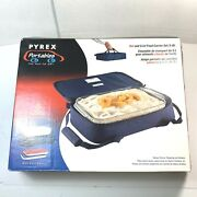 Pyrex Microcore 5pcs Portables Carrier With 3 Qt Glass Dish Hot And Cold Packs