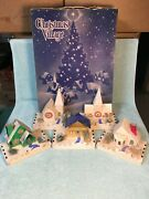 Lot Of 5 Vintage Christmas Village Cardboard Houses Churches Dolly Toy Co W/ Box