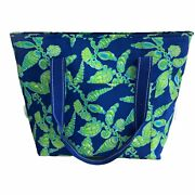 Lily Pulitzer Large Insulated Cooler Bag Tote Green Blue Shells Beach Summer