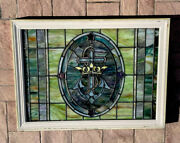 Antique Stained Glass Window - Vintage Window With Cross And Jewels.