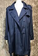 Nwot Woman Within Womenand039s Plus Size 16w Trench Coat Rainproof Blue Excellent