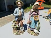 Set Of 2 Home Interiors Homco 8816 Matching Large 14 Pair Of Farmer Figurines
