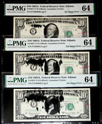 3 Consec.10 Federal Reserve Note Ink Smear/rejection Mark Error-pmg64-rare Find