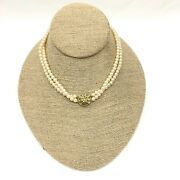 Vintage Two Strand Faux Pearl Statement Choker Necklace, Costume Jewelry________