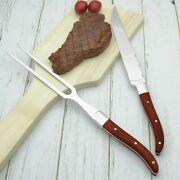 Carving Knife Fork Set Stainless Steel Wood Handle Barbecue Slicing Steak Cutter