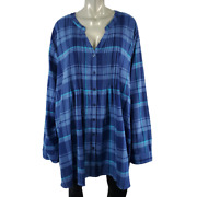 Woman Within Top Plus Size 5x 38/40 Soft Flannel Pleated 100 Cotton Plaid Blue