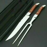 Carving Fork Slicing Knife Set Stainless Steel Wood Handle Barbecue Steak Cutter