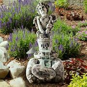 Outdoor Water Fountain With Led Lights Lighted Cherub Angel Fountain With Ant...