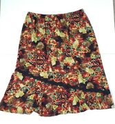 Coldwater Creek Womens Skirt Colorful Floral Knit Midi Length Plus Size 3x