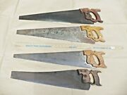 Lot Of 4 Large Vintage Hand Saws Carved Wood Handles Disstonec Atkinswarranted