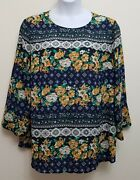 Charter Club Plus Size 3x Mixed-print Floral Top Blouse Intrepid Blue Combo Dh8