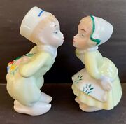 Rare Vintage Boehm Dutch Boy + Girl Kissing With Tulips Salt And Pepper Shakers.