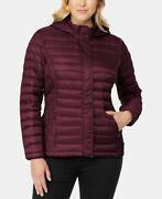 32 Degrees Plus Size Hooded Packable Down Puffer Coat Burgundy Size 1x
