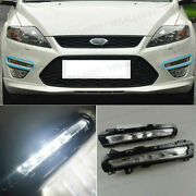 2x Drl Led Daytime Running Lights Fog Lamps White 6000k For Ford Fusion Mondeo