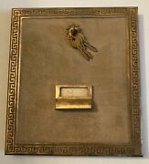 """Large Vintage Brass Postal Post Office Box Door 10"""" X 12"""" With Keys See Photos"""