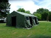 Military Base X Tent 305 +floor+ Stakes Green 18x 25 Ft--450 Sq Ft Surplus Army