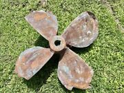 34 Antique Solid Bronze 4 Blades Propeller Approx. 250 To 300 Lbs Heavy