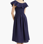 Hill House Home Latest Drop Sold Out Akilah Nap Dress In Navy Linen M Nwt