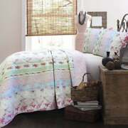 Cozy Chic Cottage Shabby Pink Purple Green Lavender Lilac Blue Ruffle Quilt Set