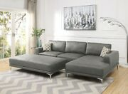 Raf Chaise And Laf Sofa Antique Gray Sectional Sofa Couch Leatherette Upholstered