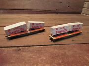 Vintage Tyco Train Ho Scale Cars With Santa Fe Trailers - Parts