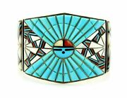 Esve Zuni Sterling Silver Turquoise Mop And Agate Inlay Wide Cuff Bracelet