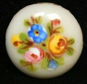Antique Vtg Button Small Hand Painted Roses And Forget Me Nots Enamel On Copper