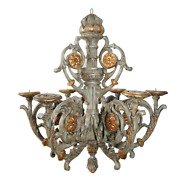 19th Century Large Carved Painted And Parcel Gilt Dutch Chandelier