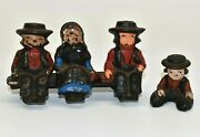 Vintage Painted Cast Iron Amish Metal 4 Figures Sitting On A Bench Men Woman