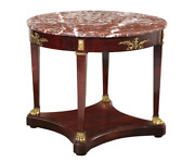 Louis Xvi Style Gilt Bronze Mounted Mahogany Center Table With Marble Top