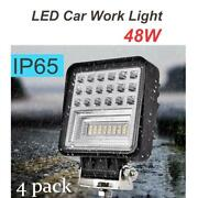 4x 48w Led Car Work Light D3 Square Driving Lamp Square Waterproof Floodlight