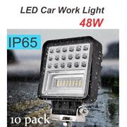 10x 48w Led Car Work Light D3 Square Driving Lamp Square Waterproof Floodlight