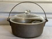Vintage Cast Iron 5 Quart Dutch Oven Pot + Glass Lid Made In Usa Griswold Wagner