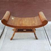 Antique Scrolling Bamboo Rattan Chinese Wooden Bench Chinoiserie