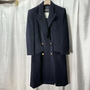 Vintage Jacket Pea Coat Size Xs Navy Color Wool Silk Gold Button Rare