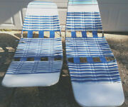 Vintage Folding Jelly Tube Chaise Lounge Lawn Chair Vinyl Retro Sold As A Set