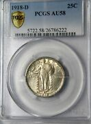 1918-d Liberty Standing 25c Pcgs Gold Shield Au-58 Beautiful Coin