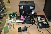 Vintage 1947 Singer Featherweight 221 Sewing Machine W/ Case Accessories Tested